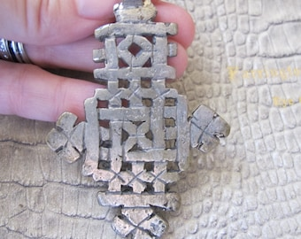 Coptic Cross Pendant. North African Christian Jewelry. Vintage Tribal Jewelry. Silver toned Mixed Metal Statement CROSS, Ethiopian Jewelry