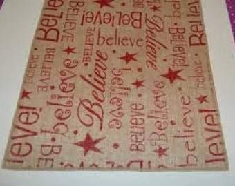 Christmas Believe Burlap, Ships in 1 day expedited mail, Holiday Table Runner, Home Decor, Holiday Dinner in Christmas Red White and Green