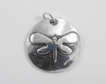 Fine Silver Charm. Dragonfly Charm. Precious Metal Clay. PMC. Necklace Charm. Bracelet Charm. Dragonfly. Component. Oxidized Charm.