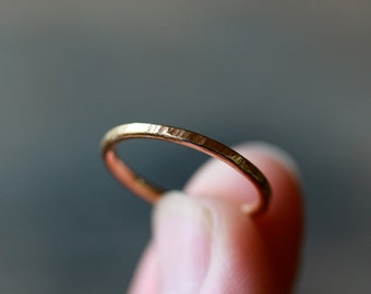 14k Gold Wedding Ring, Gold Hammered Band, SOLID 14k Gold Ring, Stacking Jewelry, Wedding Band for Her, Timeless Elegance, Recycled Metal