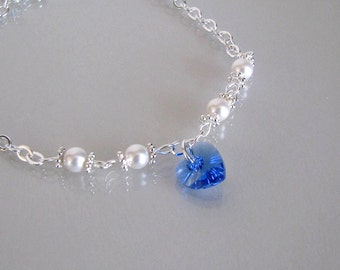 Sterling Silver Chain Blue Bridal Anklet-September Birthstone Anklet-Something Blue Bridal Anklet-Sapphire Heart Anklet-Blue Bridal Anklet