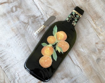 Orange Melted Wine Bottle Cheese Tray / Wine Bottle Spoon Rest