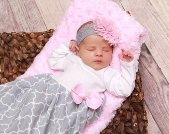 Baby girl coming home outfit - baby girl clothes - layette gown - newborn hospital set - gray pink, new mom gift - baby girl gown set - baby