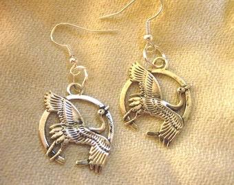 Flying Crane Silver Earrings