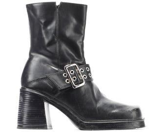 size 5 Platform Ankle Boots Vintage 90s Vegan Chunky Stack Rave Club Boots Black Faux Leather Zip Up Block Heel Eur 35.5 UK 2.5