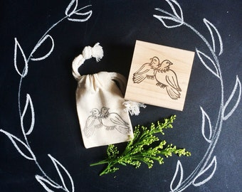 Love Birds Rubber Stamp by Brown Pigeon and Tusk and Cardinal, aka Bird in the Hand : A special artist collaboration