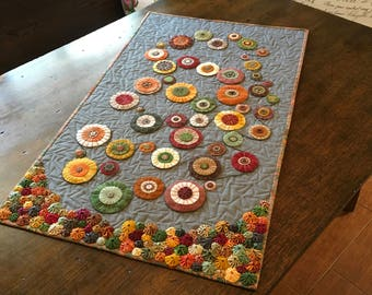 """Quilt for Sale - Table Runner Industrial Blossoms - Hand Made Item - Ready to Ship - Table Topper Home Decor, Quilt size 20.25"""" x 33.75"""""""