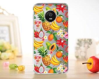 Moto G5 case, Z Force case, Z Force Droid case, fruits case, Moto Z case, Z Droid, G5s case, E4 case, Z Play case, clear, G4 play, E4 plus