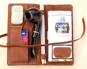Personalized Leather Pipe & Tobacco Pouch -Leather Pipe Roll - Pipe Bag -Leather Pipe Case-hand made