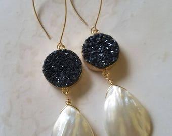 Druzy Earrings - Black and White - Pearl Drop Earrings -  Elegant Earrings -  Long Gold Earrings -  Gold Filled Earrings - Druzy Jewelry
