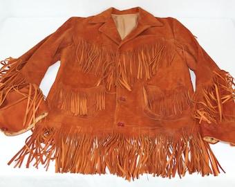 Vintage Sienna Brown Suede Fringe Leather M Medium ? Jacket
