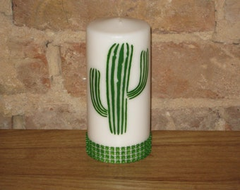 Vanilla scented Hand painted Cactus Candle