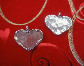 925 sterling silver heart charm or pendant , lightly oxidized 1 pc.