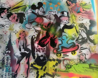 "Original 20"" x 30"" Abstract Spray Painting on stretched canvas"
