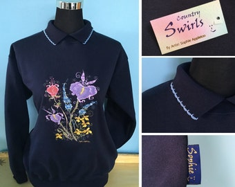 Floral navy sweater with collar quaint country style swirly embroidery with collar designed by U.K. artist Sophie Appleton , Country Swirls
