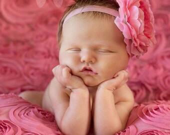 Newborn headband, infant headband, baby headband, photo prop, flower headband, pink flower headband