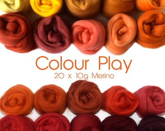 Mixed Merino pack - 20 colours - 20 x 10g (200g / 7 oz) - Reds / Oranges - COLOUR PLAY