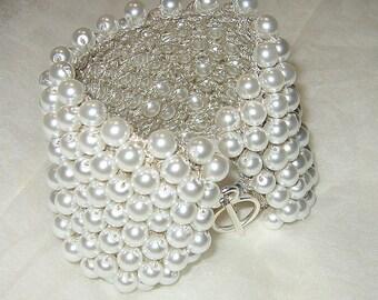 "Pure Snow White Elegant Pearl Cuff / Bridal Wedding Bracelet,  3/4"" Wide Hand Knit Fiber Art Jewelry, Original Sereba  Designs"