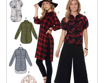 McCalls Sewing Pattern M7472 Misses Raglan Sleeve Button Down Dress Tunic Tops Choose Size A5 or E5