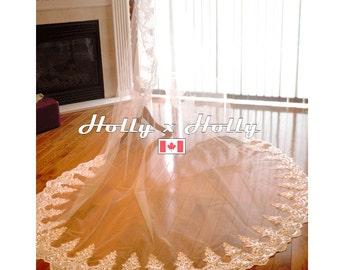 Lace wedding veil, cathedral veil, beaded lace veil, ivory veil