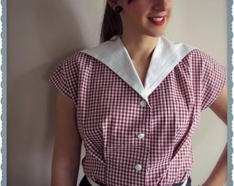 Swell Dame 1950s womens shirt with loop collar made from original pattern ALL SIZES