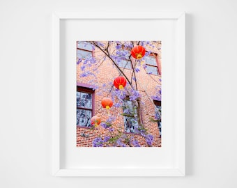 Red Chinese lanterns photo - Chinatown art print - Los Angeles photography - Travel wall decor - Large fine art - Colorful urban spring