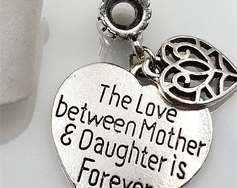 "4PCS Dangle Charm ""The Love Between Mother & Daughter is Forever"", European Bracelet Supply, 25mmX23mm, CM183-T0852"