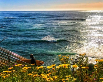 Surfer at Sunset Cliffs