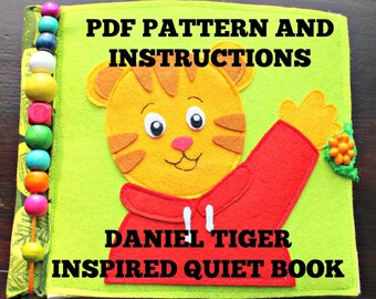 Daniel Tiger Quiet Book Sewing Pattern and instruction, PDF Pattern: Cover and 7 activity pages.