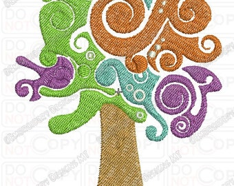 Weird Colorful Tree Embroidery Design in 4x4 and 5x7 Sizes