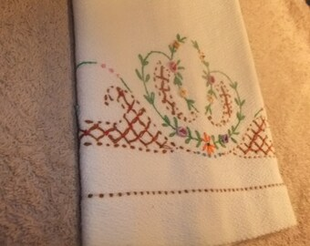 Vintage Kitchen Towel White with Embroidered Flowers Border  #40KT