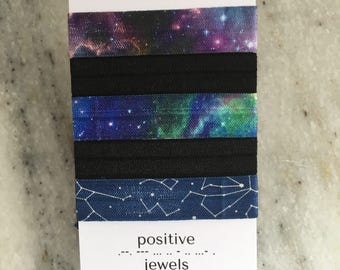 Out of This World Collection, Space, Constellation, Galaxy,  Elastic Hair Ties.