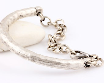 Silver Plated Bracelet Bar with chain and lobster clasp, 1 piece // SFND-0027