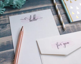 Hello! Cute Note Letter Writing Set | Writing Paper | Stationary Gift Set | Gift for Her | Tween Girl Gift | Stocking Stuffer | Snail Mail