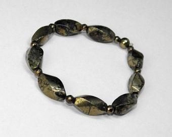 Pyrite/ Gold/ Stretch/ Bracelet/ Seven inches