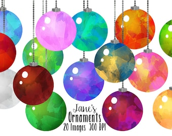 Watercolor Ornaments Clipart - Christmas Clipart - Instant Download - Watercolor Christmas Ornaments Graphics