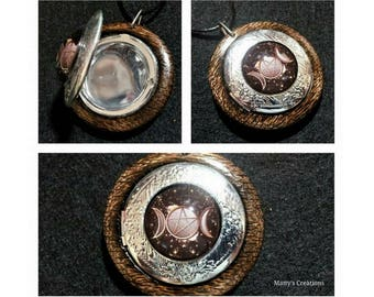 Triple Moon Pentacle Locket Pendant made from Burnt Oak, free shipping worldwide, locket jewelry, Moon jewelry, Pagan and Wiccan Jewelry