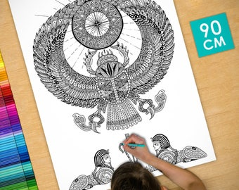 Poster / Poster deco coloring (90cm) beetle - coloring for adults
