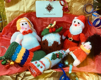Set of Knitted Tree Decorations-Box of 6