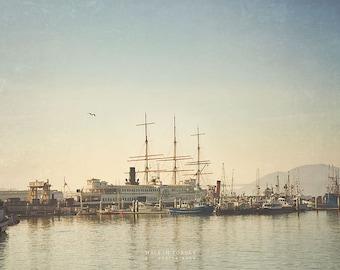 Versenden Sie Foto, San Francisco Fotografie, Großsegler nautischen Dekor, Boot-Druck, große Wand-Kunst, SF Pier, blau, Schiff Bild