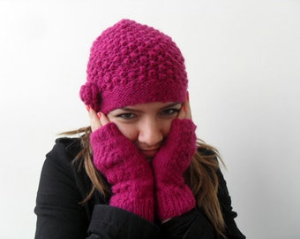 Winter Fashion Hand Knitted Hat and Fingerless Gloves Raspberry Cherry Slouchy Ribbed Chunky,Beanie,Beret,Fuchsia Winter Accessory TeamT