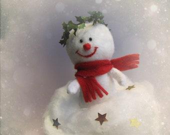 Snowman Cake topper Ornament Felt Sculpture - handmade felt doll for Christmas Cake topper keepsake softie - Hand Made in France