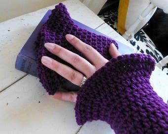 Crochet fingerless gloves, crochet wrist warmers, ultra violet, hand knit, ready to ship, winter wear, women's gift idea, accessory