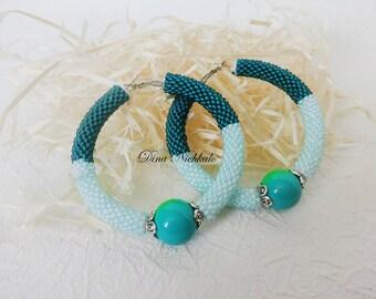 Big Hoop earrings Seed beads earrings Colorful Boho earrings Beaded jewelry Bright earrings Large Hoop Earrings Gift for women Gift For Her