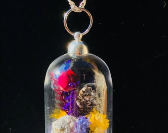 Real preserved rose and mini pinecone terrarium necklace with real preserved flowers and moss