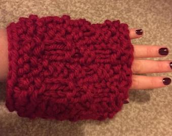 Handmade Fingerless Gloves/ Arm Warmers - red/pink/teal
