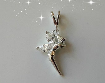 Sterling Silver (925) - Fairy (Tinkerbell) Pendant with cubic zirconia wings