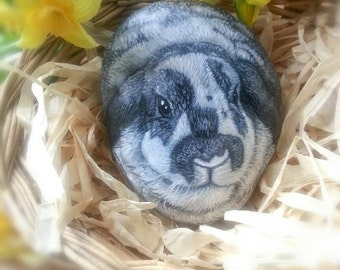 PAINTED ROCKS-Bunny- Custom Pet Portrait , Memorial, ROCKS, 8-10 in. Painted all around, Painted Rocks- by Shelli Bowler