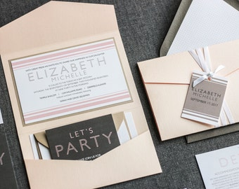 "Modern Bat Mitzvah Invitations, Custom Pocketfold Invitations, Contemporary Blush Pink Invitation - ""Striped Mitzvah"" PF-1L SAMPLE"