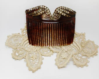 Edwardian faux shell and paste set hair comb.